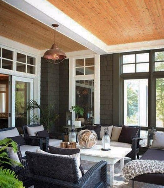 Sleek Porch Ceiling Ideas Wood With White Painted Beams