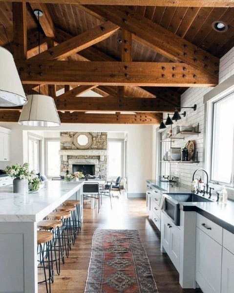 Sleek Rustic Ceiling Ideas With Large Vaulted Wooden Beams