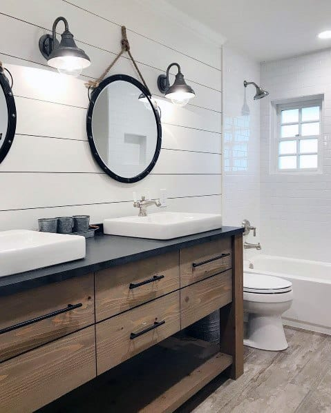 Sleek Shiplap Wall Ideas For Master Bathroom