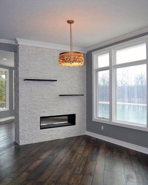 Sleek Stacked Stone Fireplace Ideas