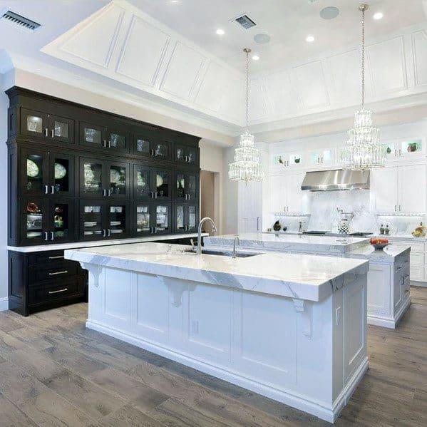 Sleek Trey Ceiling Ideas In White Kitchen