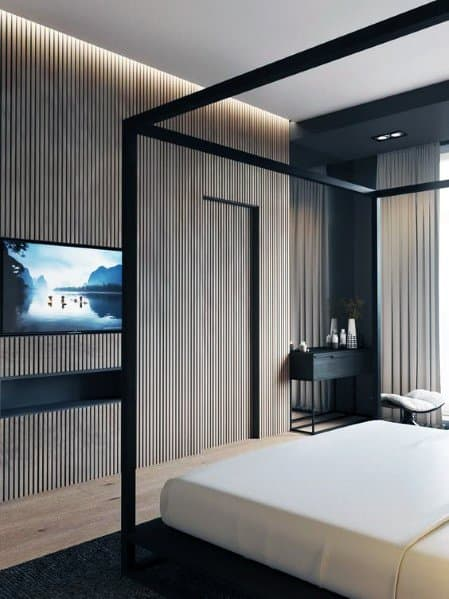 Sleek Wood Wall Ideas In Master Bedroom With Led Ceiling