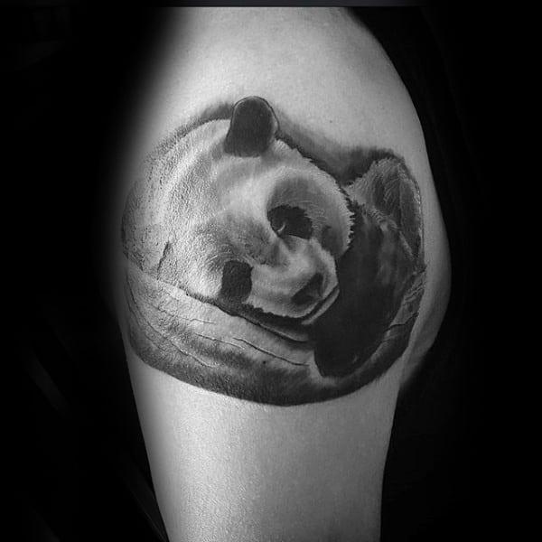 Sleeping Panda Bear Mens Upper Arm Tattoos