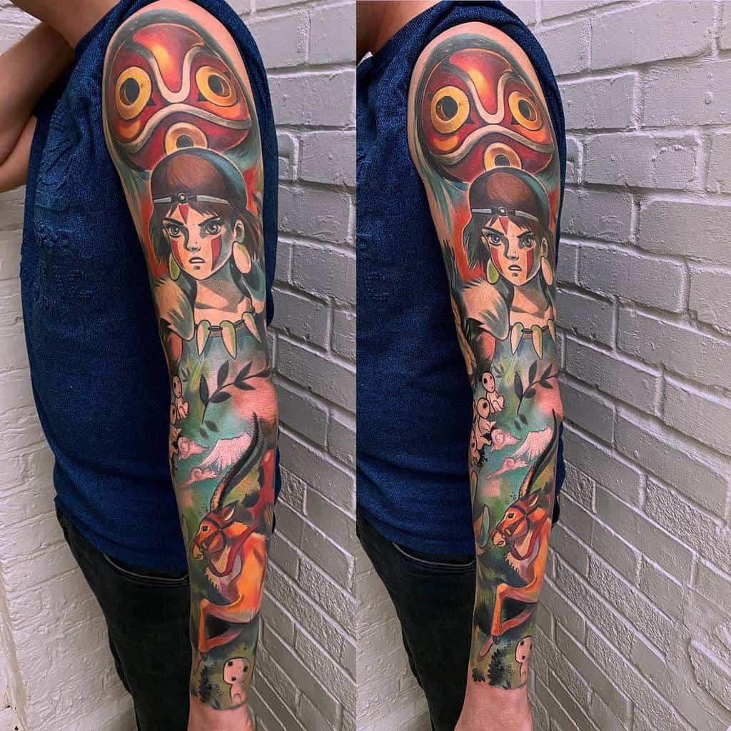 Top 53 Best Princess Mononoke Tattoo Ideas - [2020 ...   Princess Mononoke Tattoo Design