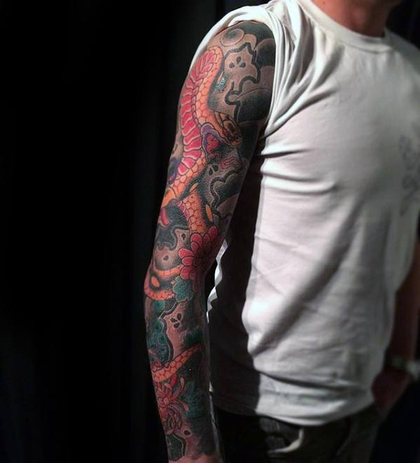 Sleeve Arm Distinctive Male Japanese Snake Tattoo Designs