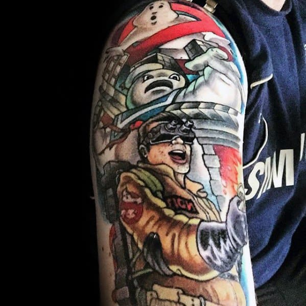 Sleeve Arm Ghostbusters Tattoo Designs For Guys