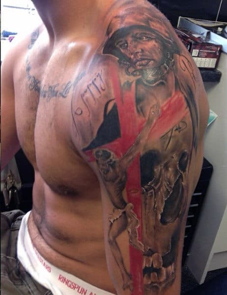 Red Cross Sleeve Army Tattoo Designs For Men