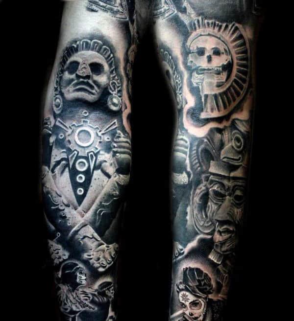 Sleeve Aztec Sun God Tattoo For Men