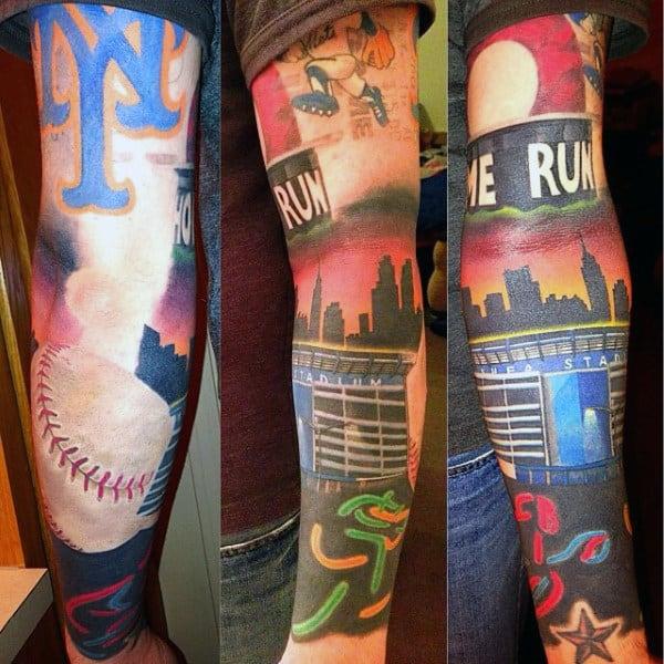 Sleeve Baseball Diamond Tattoos For Men