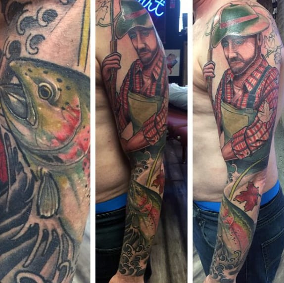 Sleeve Bass Fish Tattoo On Men