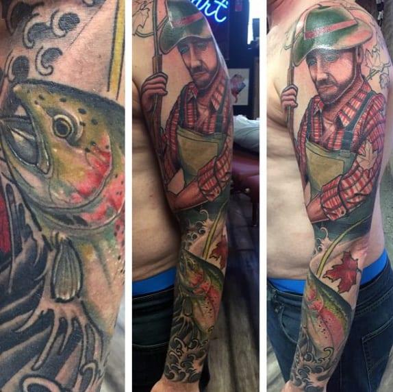 Sleeve Bass Fish Tattoo On Men
