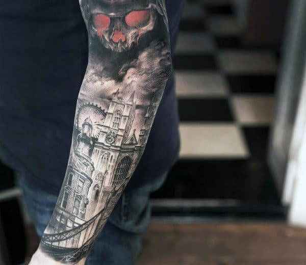 Sleeve Building With Glowing Red Skull Tattoos For Males