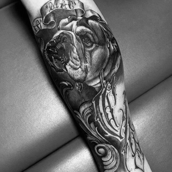 Sleeve Bulldog Mens Tattoo Ideas