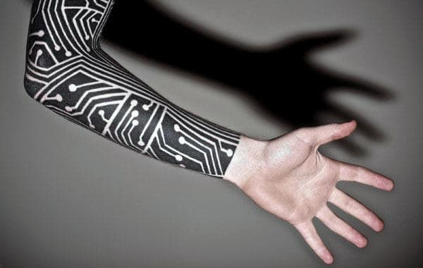 Sleeve Circuit Board Guys Tattoo Ideas With Negative Space Design