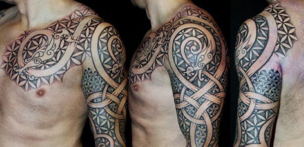 Sleeve Danish Viking Men's Tattoos