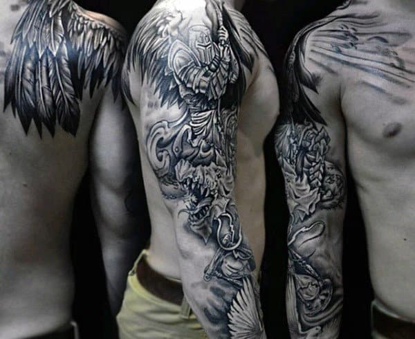 top 80 best knight tattoo designs for men brave ideas. Black Bedroom Furniture Sets. Home Design Ideas