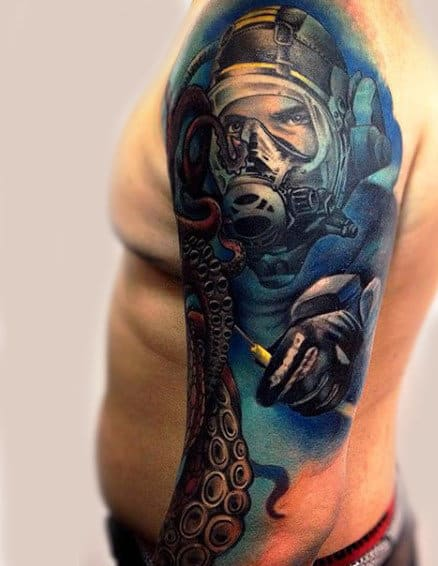 Sleeve Diver Under Water Tattoo For Males