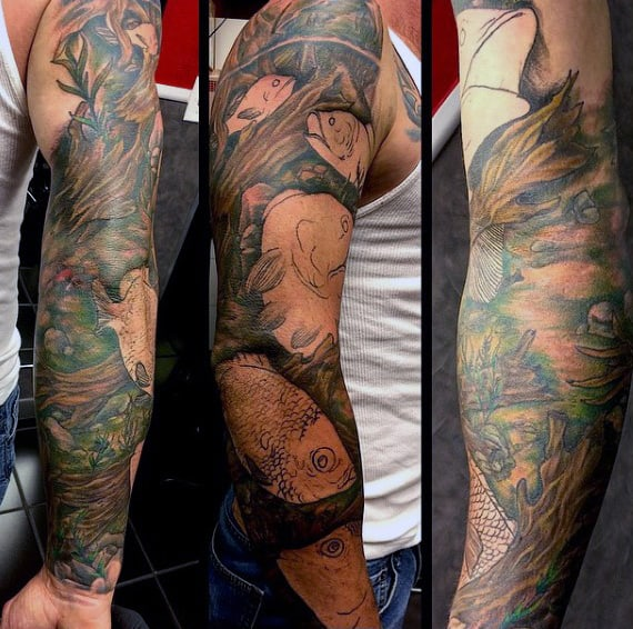 Sleeve Faith Fish Tattoo For Men