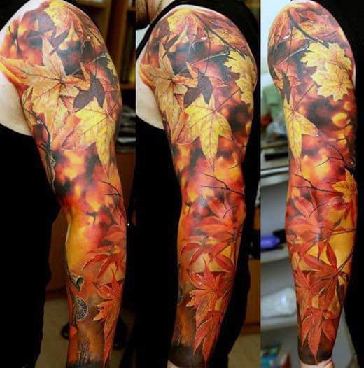 Sleeve Fall Leaves Tattoo On Men