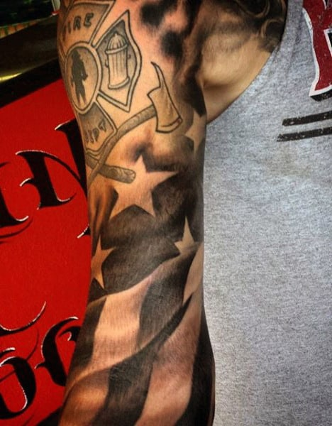 Sleeve Firefighter Flag Tattoo For Men