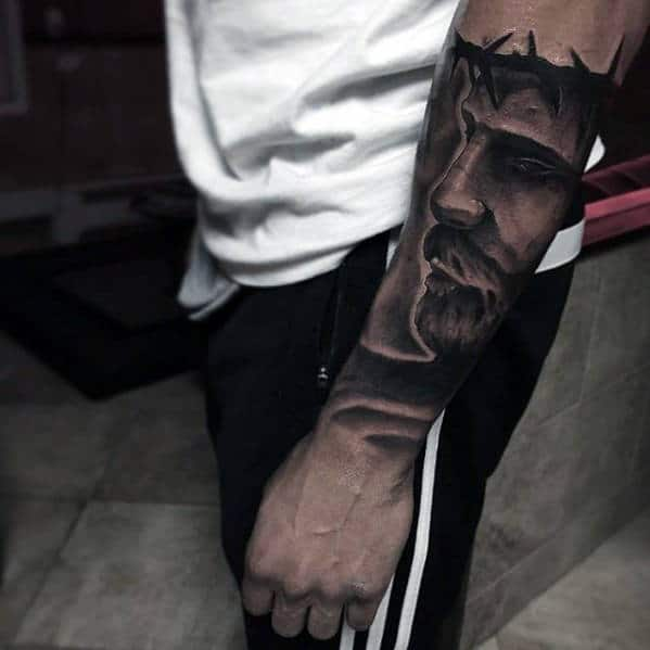 Sleeve Forearm Male Catholic Jesus Tattoo