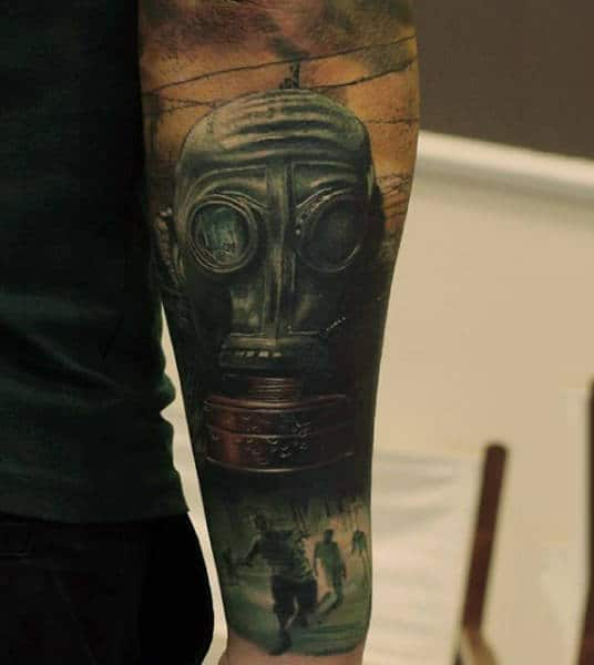 Sleeve Gas Mask Zombie Tattoo With Apocalypse Theme For Men