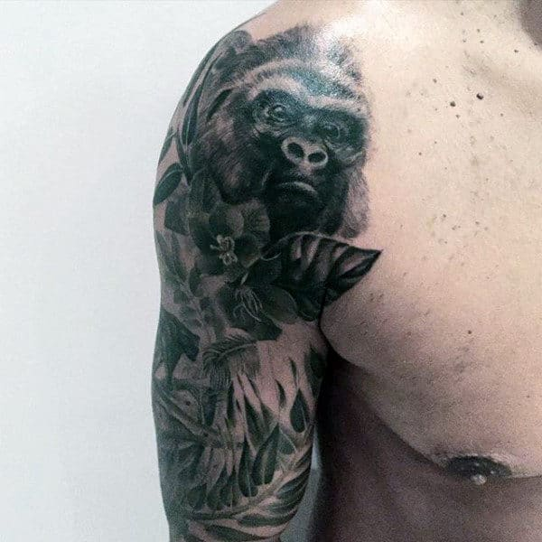 Sleeve Gorilla Guys Tattoo In Black Ink