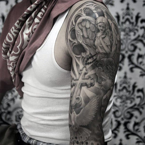 Sleeve Guys Shaded Black And Grey Catholic Themed Tattoo Ideas