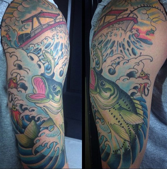 Sleeve Japanese Fishing Tattoo Ideas On Men