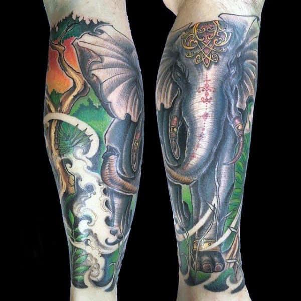 Sleeve Leg Calf Male Elephant Tattoo Design Ideas