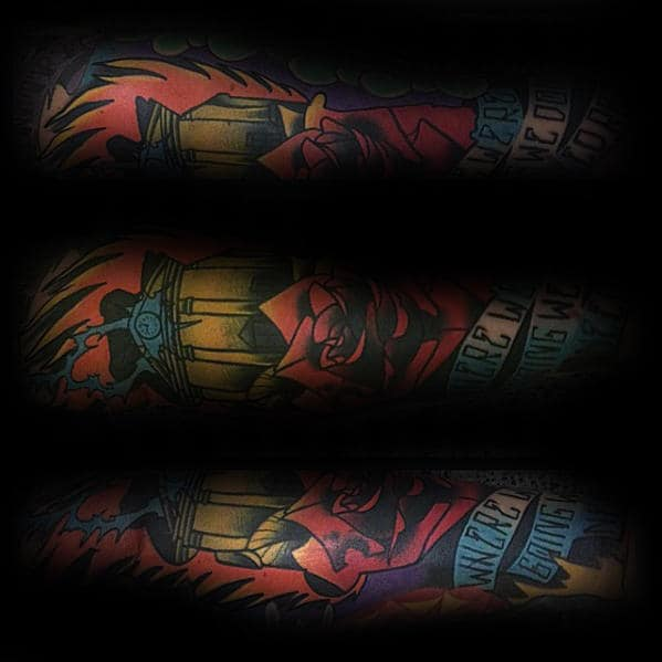 Sleeve Male Back To The Future Colorful Tattoo Ideas
