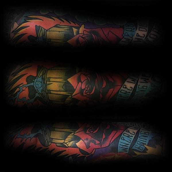 Sleeve Male Back To The Future Colorful Tattoo Ideas