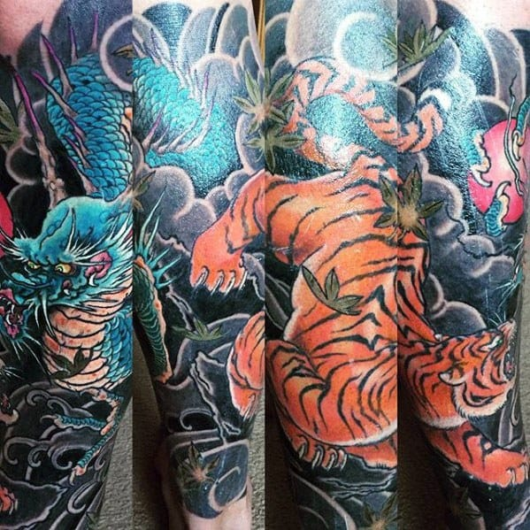 Sleeve Male Cool Tiger Dragon Tattoo Ideas