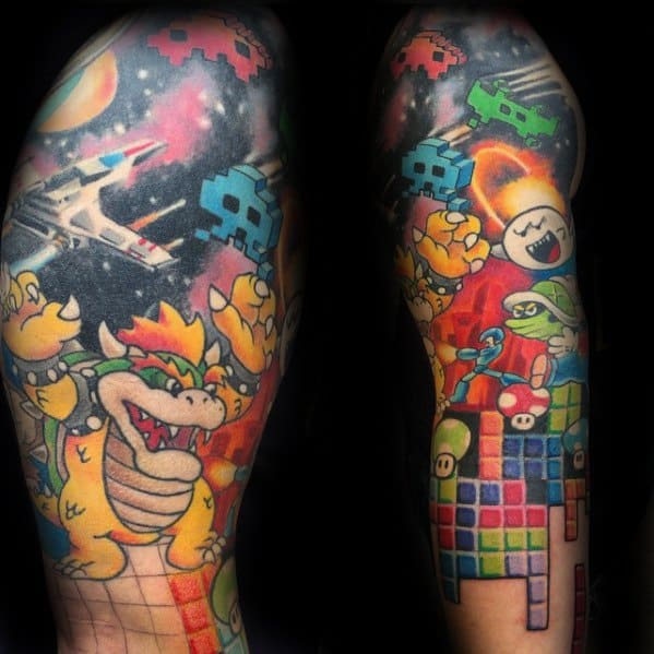 Sleeve Male Tetris Tattoo Design Inspiration