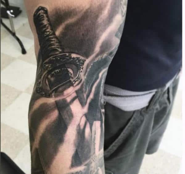 Sleeve Manly Mens Sword Tattoo