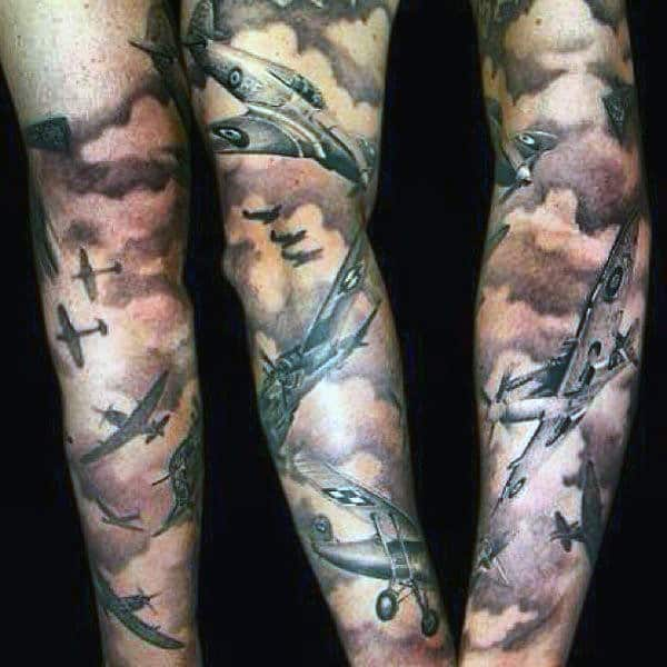 Sleeve Mens Aircraft In Clouds Tattoo
