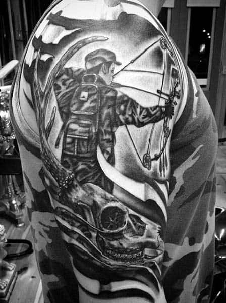 Sleeve Mens Archery Hunting Tattoos With Skulls In Black Ink