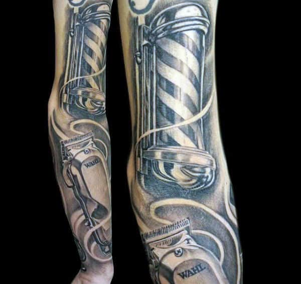 Sleeve Mens Clipper And Pole Barber Tattoos