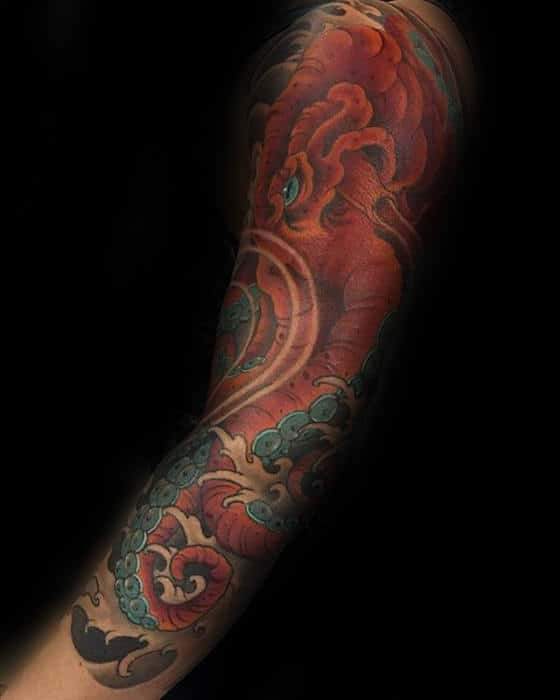 Sleeve Mens Japanese Octopus Tattoo Ideas