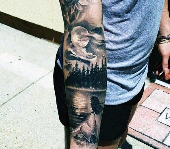 Sleeve Mens Lake Tattoo Design Ideas