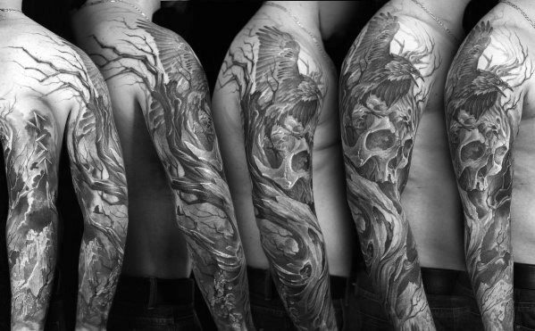 Sleeve Mens Skull Tree Tattoo Design Ideas