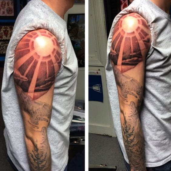 Sleeve Mountain Tattoos For Men