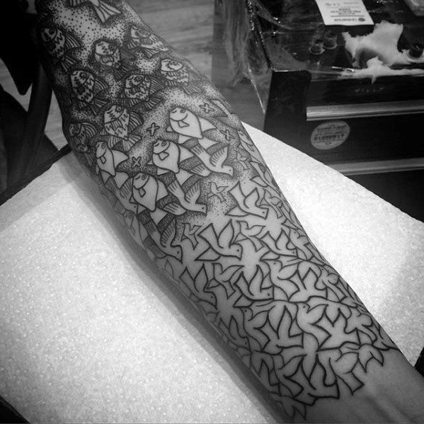 Sleeve Pattern Guys Mc Escher Tattoo Sleeve