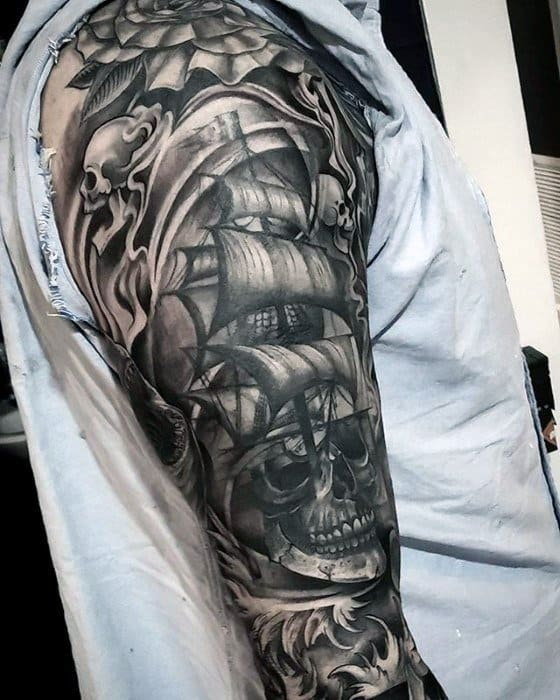 Sleeve Sailing Ship With Unique Skull Mens Tattoo Deisgns