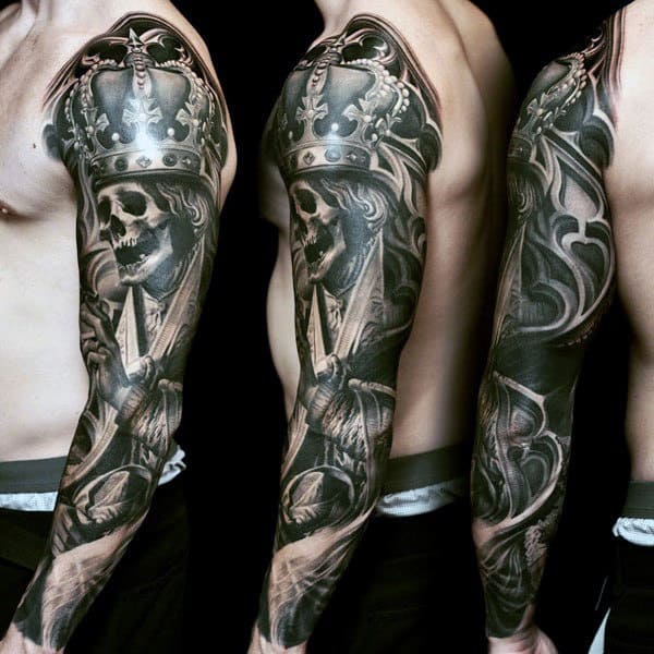 Sleeve Skull Male Tattoo Designs
