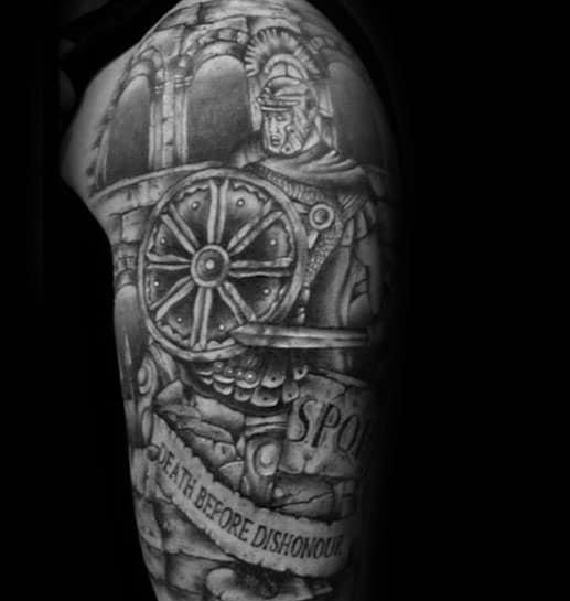 Sleeve Spqr Rome Themed Half Sleeve Tattoo Ideas For Men