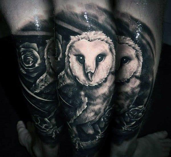 Sleeve Tattoo Of Barn Owl On Man