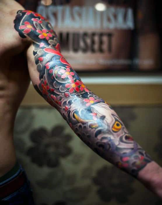 Sleeve Tattoo Of Japanese Flower With Demon Mask For Guys