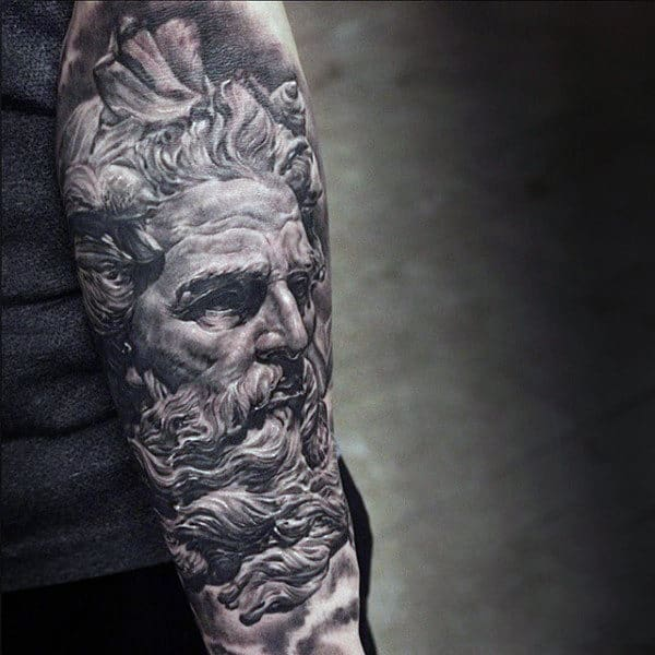 Sleeve Tattoos Of Zeus God On Men