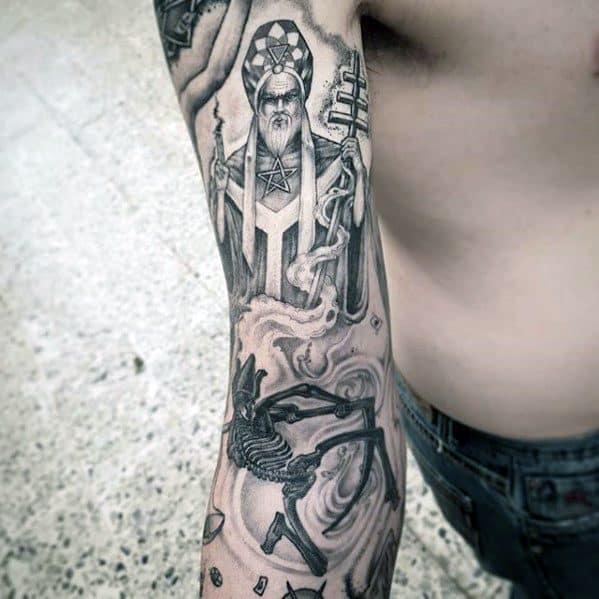 Sleeve Themed Distinctive Male Tarot Tattoo Designs